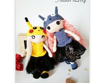 Charline se déguise - Poupée au crochet - Patron au crochet - Fichier PDF - Explications EN, FR- Crochet - Amigurumi