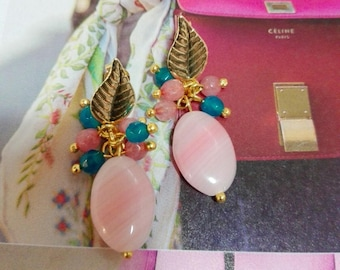 goldfilled Earrings with jade balls and Czech crystal oval count