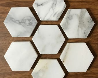Calacatta Marble Magnets | Strong Magnets | Hexagon Magnets | Marble Magnets | Luxury Magnets | Set of 6