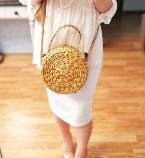 67e4e63e1a Round Drum Straw Shoulder Bag Fashion Rattan Female Handbag