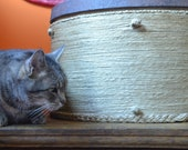 ROUND HEMP TRUNK, Handmade Hemp Box, Wine Barrel Ring, Cat Hammock, Large Hanging Cat Bed, Cat Home Decor, Hanging Cat Furniture, Rustic Box
