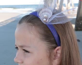 Girl headband,Mermaid,Purple real seashell and pearl head band,Girl birthday,photoshoot,beach headband
