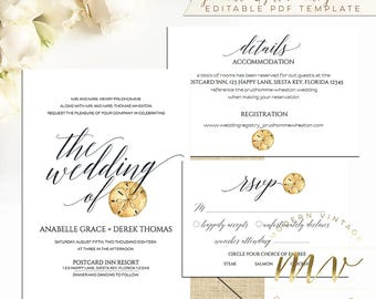Sand dollar template etsy beach wedding invitation set editable templates printable diy wedding sand dollar rsvp details card modern vintage a023 maxwellsz