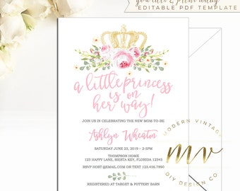 Princess baby shower invitations etsy princess baby shower little princess editable invitation baby girl shower printable template instant download 5x7 invite couples b128 filmwisefo