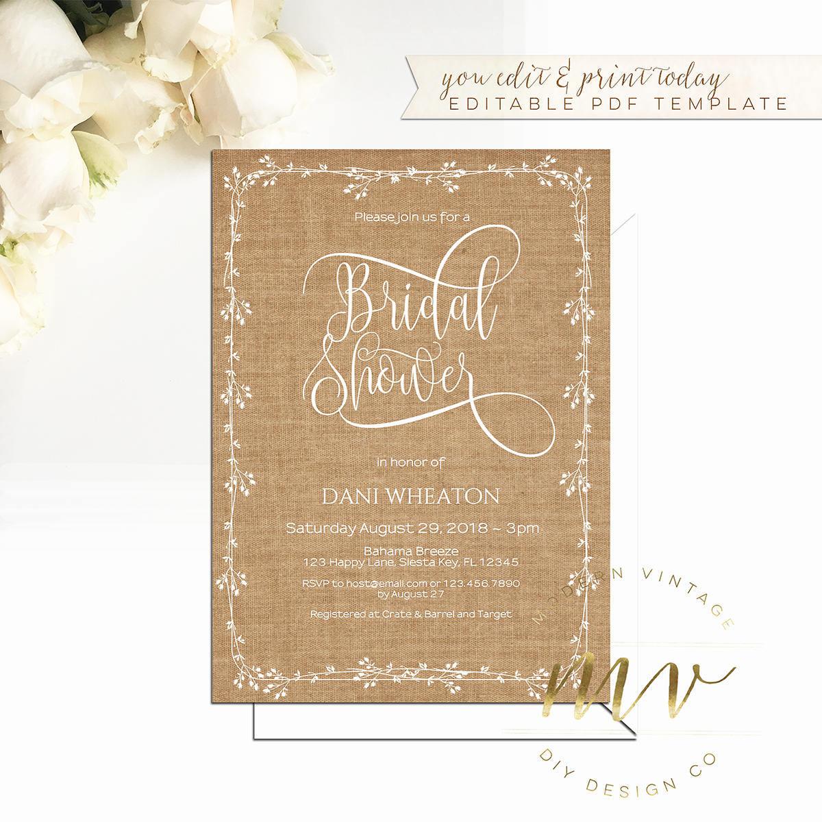 bridal shower invitation template 5x7 editable printable. Black Bedroom Furniture Sets. Home Design Ideas