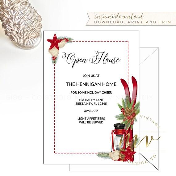 Holiday Invitation Templates   Christmas Open House Invitation Template Holiday Invite 5x7 Etsy