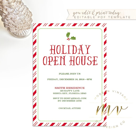 items similar to holiday open house invitation template  christmas invite  5x7 editable template