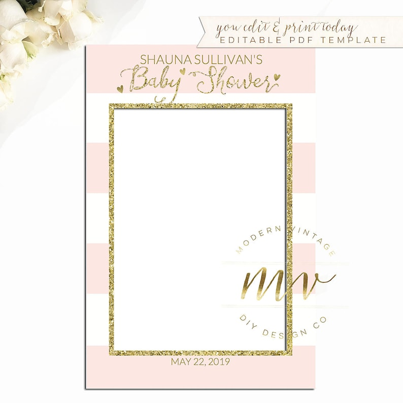 914185a7403 Baby Shower Photo Prop Frame editable template gold pink