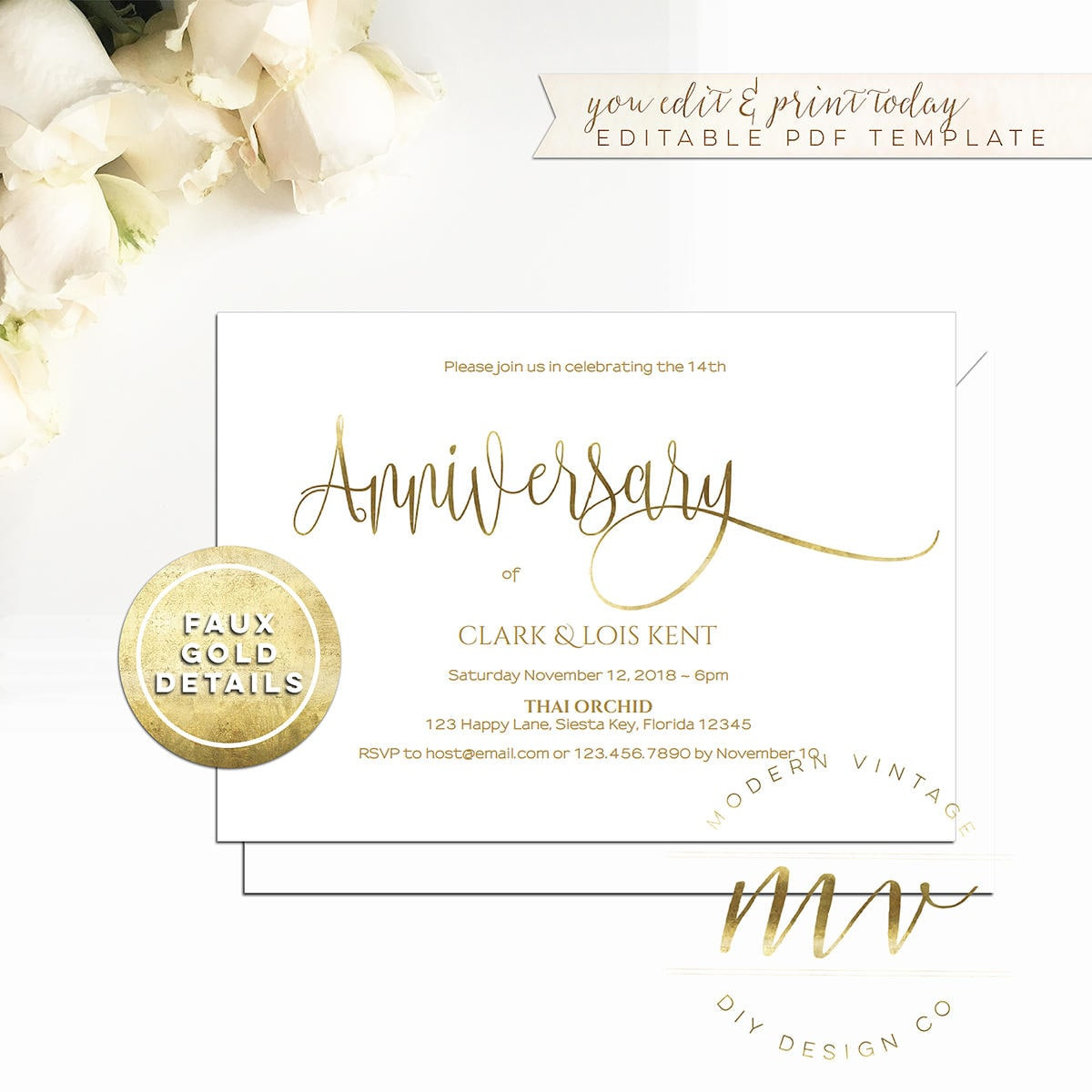 Anniversary Invitation Template 5x7 Horizontal White Gold Etsy