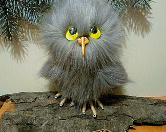 Owl figurine Realistic Miniature Original Gift Wool Animal realistic OOAK Xmas Stuffed owl Kawaii Owl plush Forest bird Halloween decor