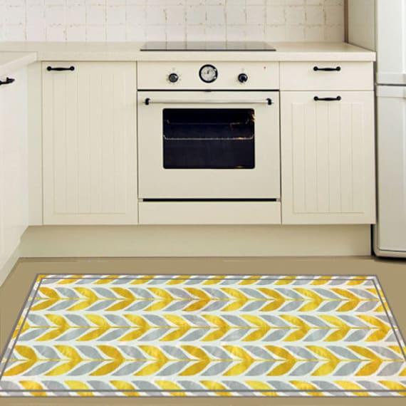 Pvc Vinyl Mat With Yellow Leaves Vinyl Floor Mat Linoleum Etsy