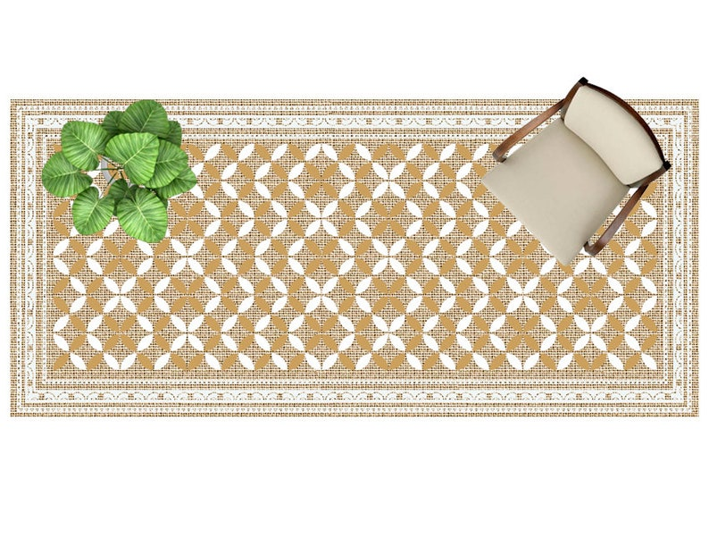 kitchen rug Linoleum rug Geometric pattern PVC rug Vinyl Mat vinyl mat .Runner vinyl floor Art Mat rug Floor mat.Free Shipping