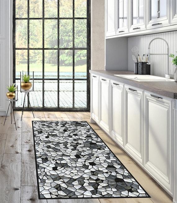 Vinyl Mat Vinyl Floor Kitchen Rug Mosaic Pattern Door Etsy
