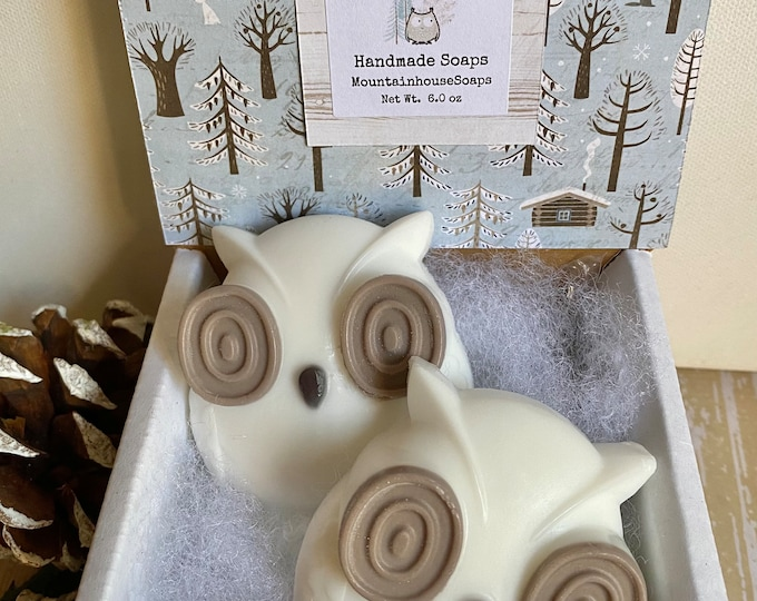 Featured listing image: Owl Soap, Owl Soap Gift, Bird Soap, Winter Soap, Christmas Soap, Christmas Gift, Gift for Owl Lovers, Kid Soap