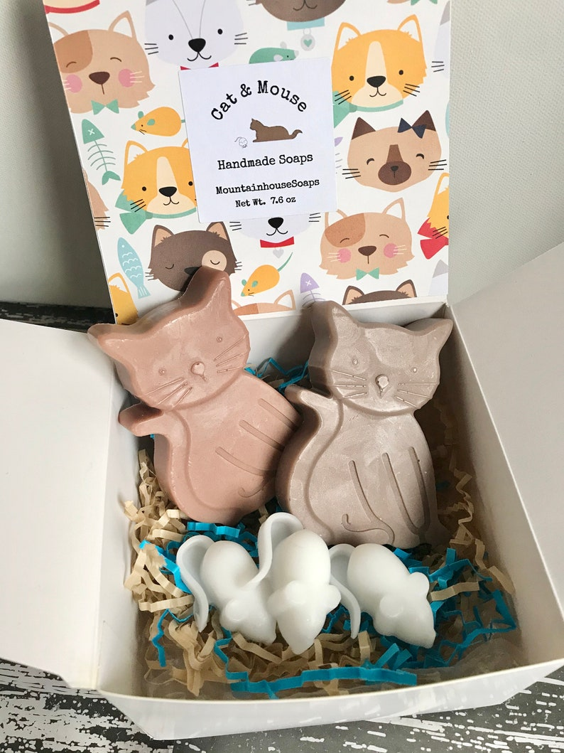 Cat Soap Cat Soap Gift Box Cat and Mouse Soap Gift for Cat image 0