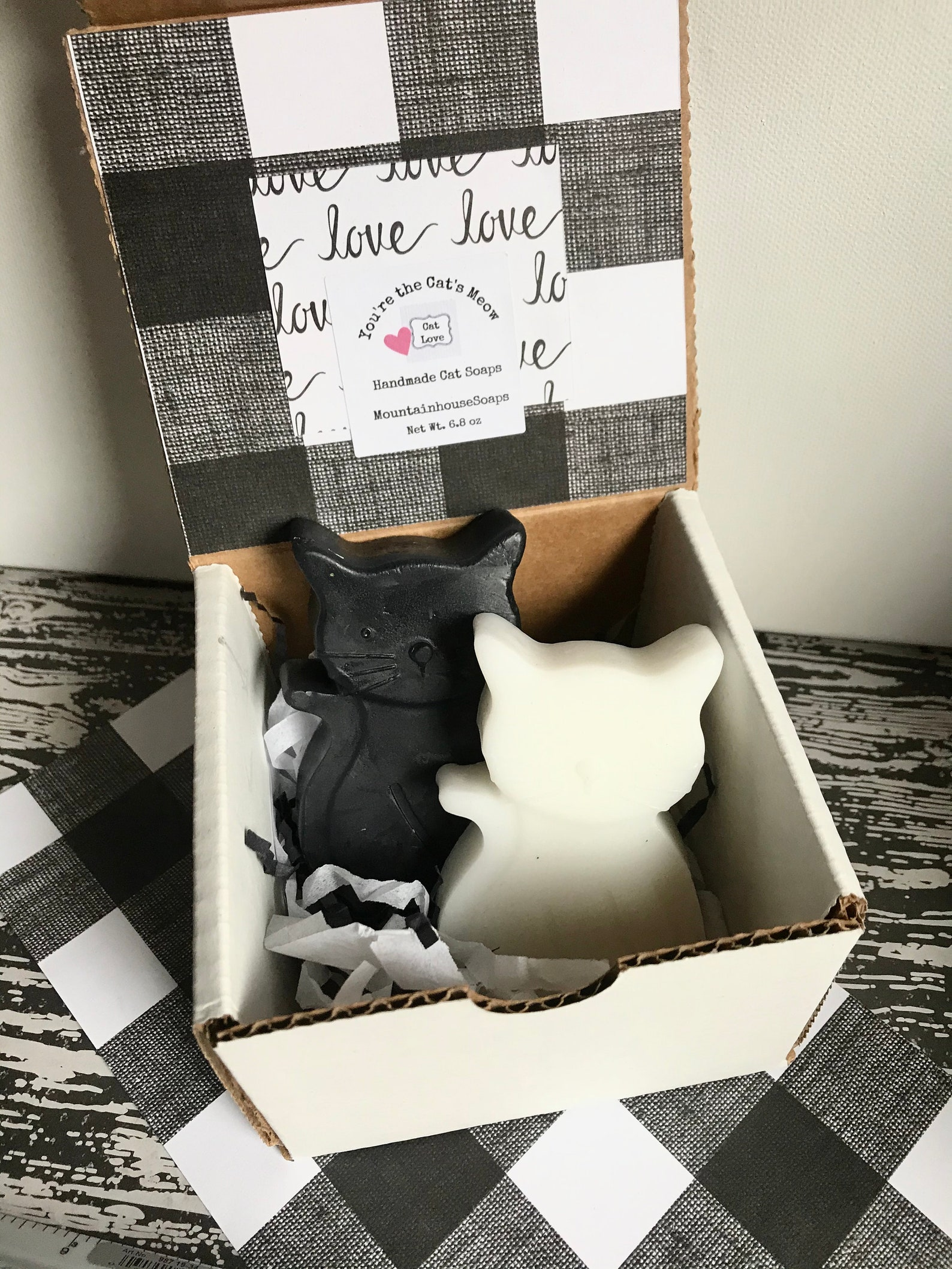 Black and White Cat Soaps, Gift Box of 2
