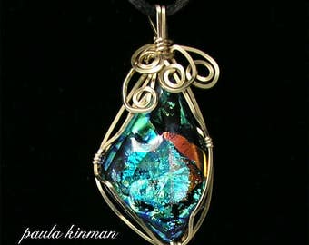 Wire-Wrapped Dichroic Glass Pendant #155