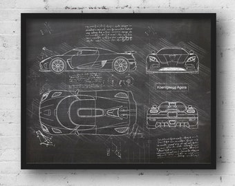 Koenigsegg Logo Abstract Printed Canvas Picture Multiple Sizes Mancave Car
