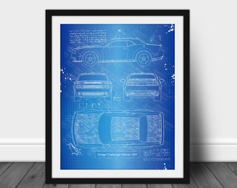 "2019 19 Dodge Challenger Redeye SRT Blue Print Art Photo 11/""x14/"" Mopar Poster"