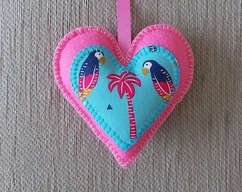 A handmade Parrot / Palm Tree / Tropical pink felt heart hanging decoration