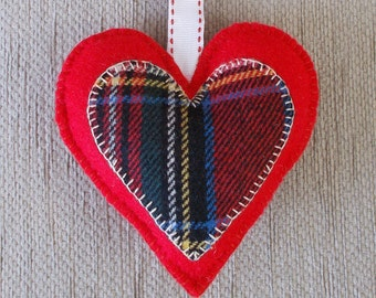 Handmade Tartan red felt heart door hanging decoration