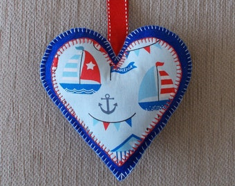 Handmade Nautical / Seaside blue felt heart door hanging decoration