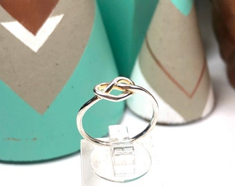 "Beautiful ""Love Knot"" Fine Silver Ring, Adjustable"