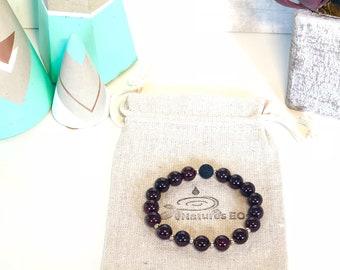 Handmade Garnet Aroma Diffuser Bracelet, Crystal bracelet, Essential Oil Bracelet