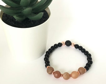 Handmade Matte Rose Gold Druzy and Onyx Aroma Diffuser Bracelet.