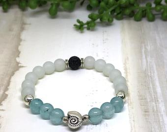 Handmade Aquamarine Aroma Diffuser Bracelet.