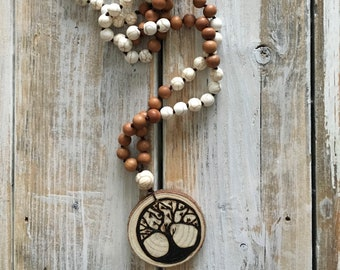 Handmade Wood Burned Family Tree Mala Diffuser Necklace