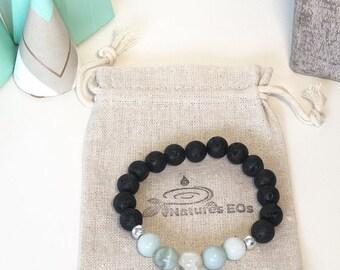 Handmade Amazonite & Lava Aroma Bracelet, Diffuser Bracelet, Crystal Bracelet