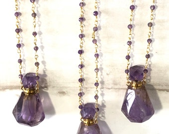 Amethyst Oil/Perfume Bottle Necklace on a Beaded Chain, Essential Oil Bottle Necklace, Aromatherapy, Crystal Necklace