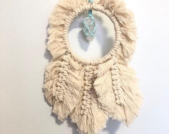 Handmade Macrame Crystal Dreamcatcher