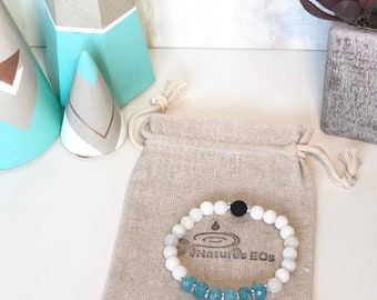 Handmade White agate and Aquamarine Aroma Diffuser Bracelet.