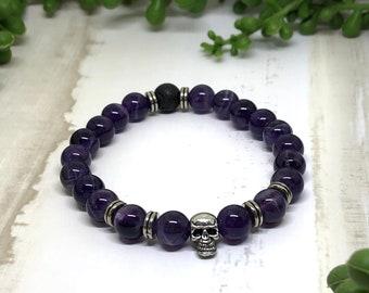 Handmade Amethyst Aroma Diffuser Bracelet, Crystal bracelet, Essential Oil Bracelet, Skull Bracelet
