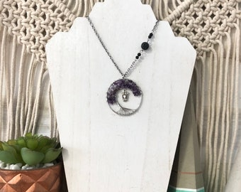 Amethyst Family Tree Aroma Necklace, Diffuser Necklace, Lava Necklace, Owl in a Tree