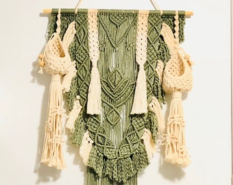 Handmade Lotus Macrame Wall Hanging with flower pot holders