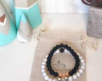 Handmade Barbell Couples Aroma Diffuser Bracelets. Set of Two Bracelets, Howlite and Matte Onyx.