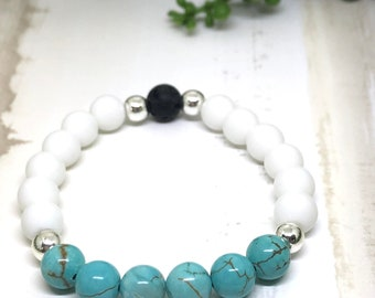 Turquoise and White Agate Aroma / Diffuser Bracelet