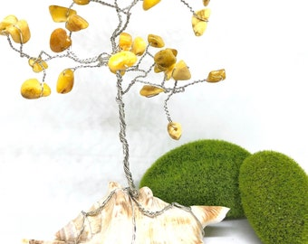 Handmade Baltic Amber Gem Tree, Lucky Tree, Money Tree,