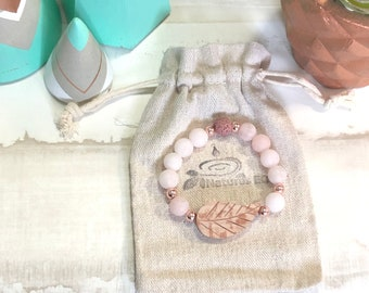 Handmade Matte Rose Quartz Aroma Diffuser Bracelet.