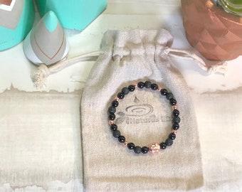 Handmade Buddha Onyx and Lava Aroma Diffuser Bracelet.