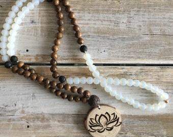 Handmade Wood Burned Lotus Diffuser Mala, Beaded Necklace,