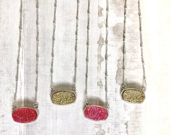 Beautiful Druzy Diffuser Necklaces, Aromatherapy, Crystal Jewelry