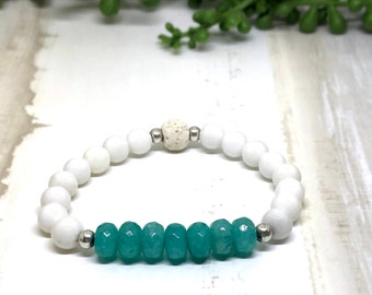 Handmade White agate and Amazonite Aroma Diffuser Bracelet.