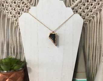 Handmade, Hand Cut & Gold Plated Lava Aroma Necklace, Diffuser Necklace, Essential Oil Necklace