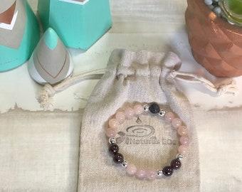 Handmade Rose Quartz and Garnet Aroma Diffuser Bracelet.