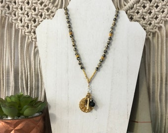 Handmade Dalmatian Jasper Mala Diffuser Necklace, Crown Chakra, Lotus, Crystal Necklace.