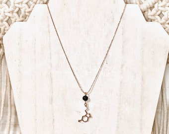 Serotonin Aroma Diffuser Necklace, Rose Gold Plated.